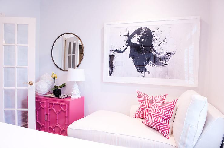 Office chaise Storage Pink Office With Chaise Lounge And Pink Greek Key Pillows Fundacjaportaorg Pink Office With Chaise Lounge And Pink Greek Key Pillows