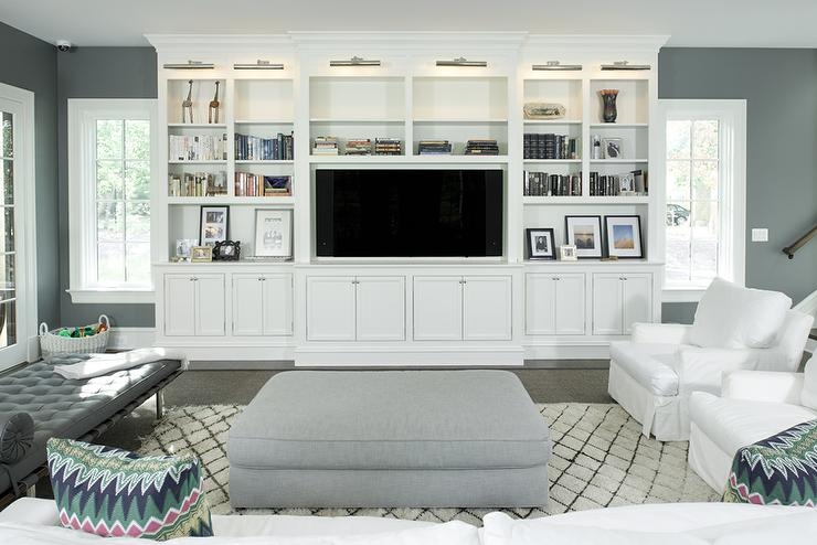 White Living Room TV Cabinet With Nickel Picture Lights View Full Size