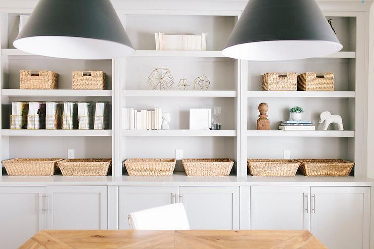 Gray Office Shelves With Gold Magazine Holders
