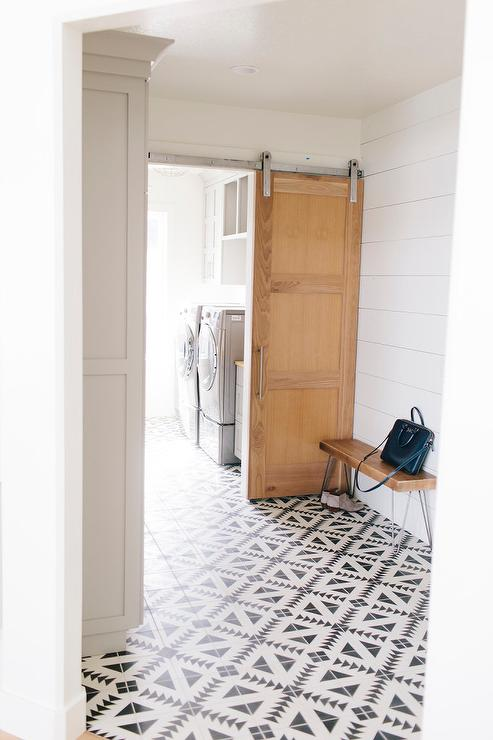 Mudroom With Black And White Tulum Concrete Tile Floor