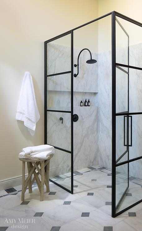 Glass And Steel Shower Enclosure With Oil Rubbed Bronze