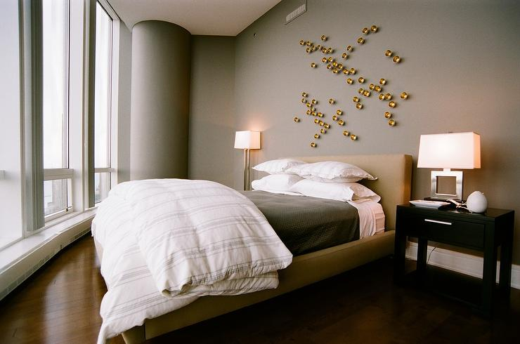 Gold and gray bedroom with gold art contemporary bedroom - Over the bed art ...