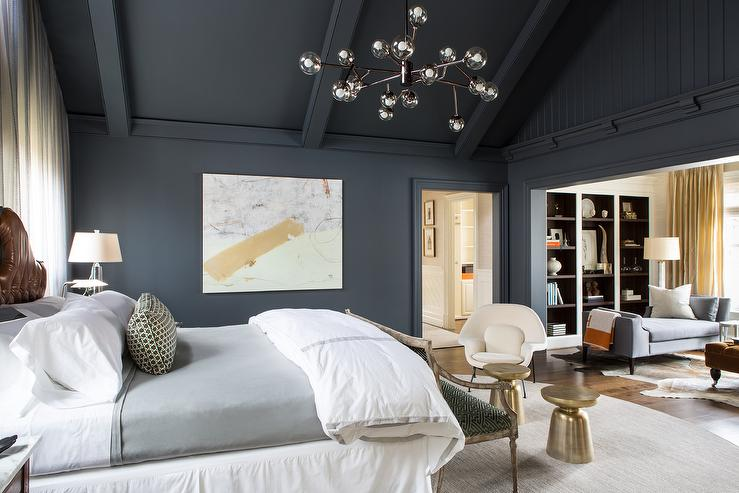 dark gray and gold bedroom with vaulted ceiling contemporary