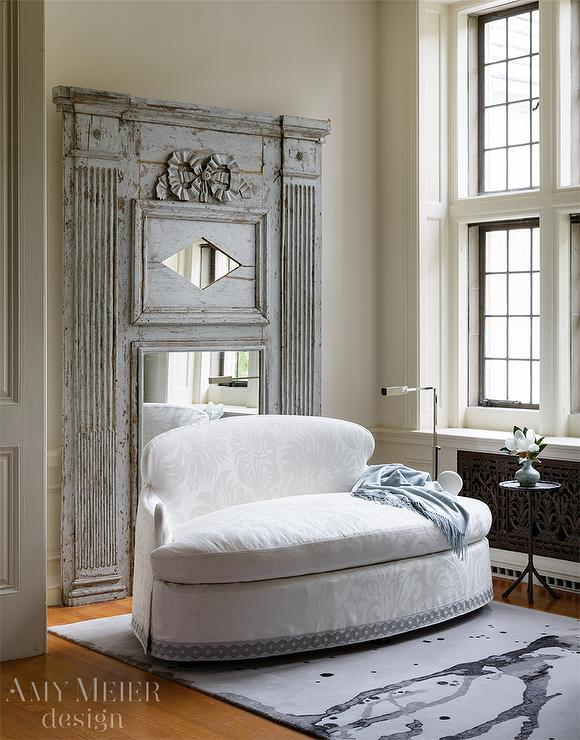 white damask settee with gray distressed french mirror - Distressed Living Room 2016