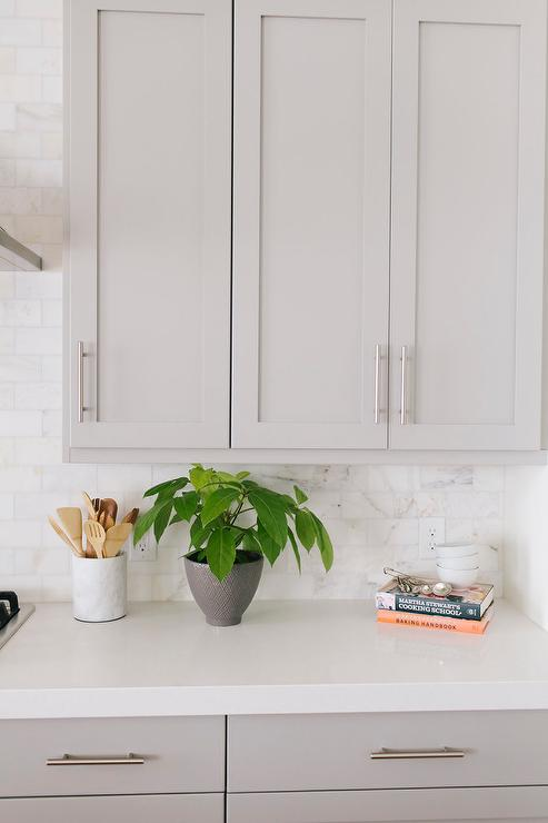 Grey Kitchen Cabinets With Caesarstone Organic White