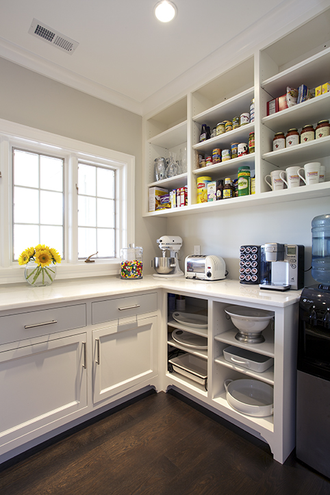 Chic Kitchen Pantry Features White Shaker Cabinets Fitted With Open Shelving .