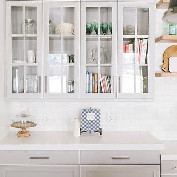 Light Gray Kitchen Cabinets With Caesarstone Organic White Countertops