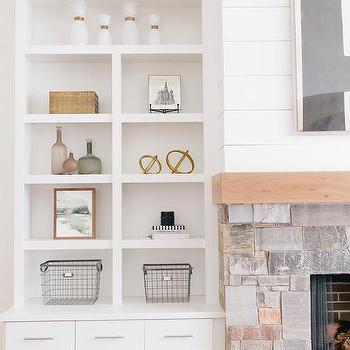 Cottage Living Room Fireplace With Built In Shelves