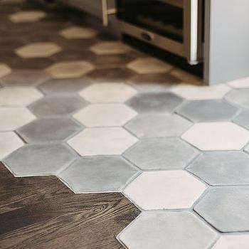 white and gray hex concrete floor tiles