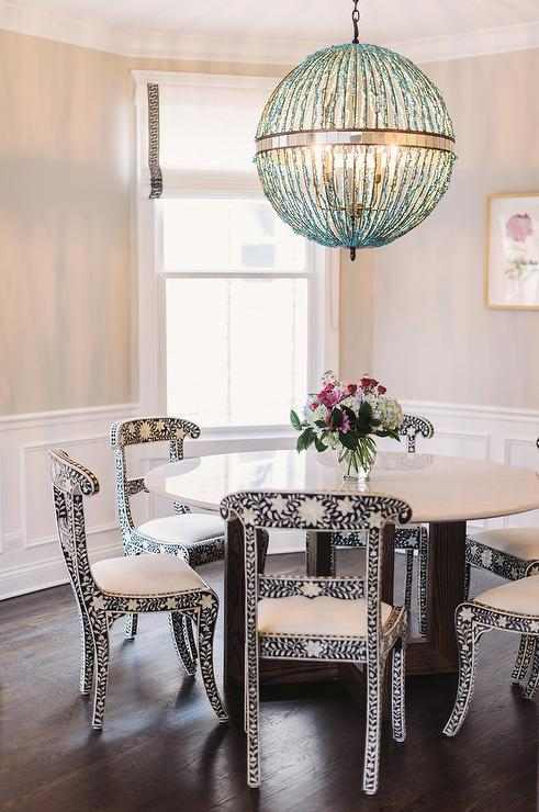 Black And White Bone Inlay Dining Chairs With Turquoise