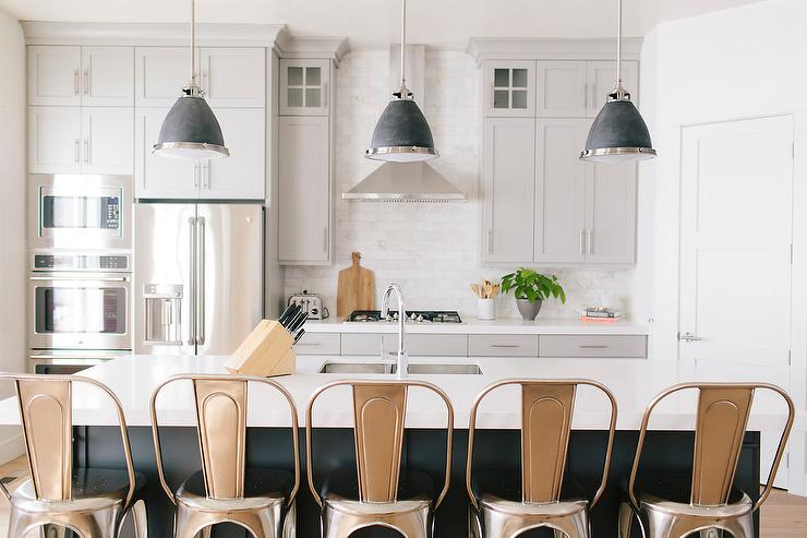 Dark Gray Kitchen Island With Black Industrial Pendants