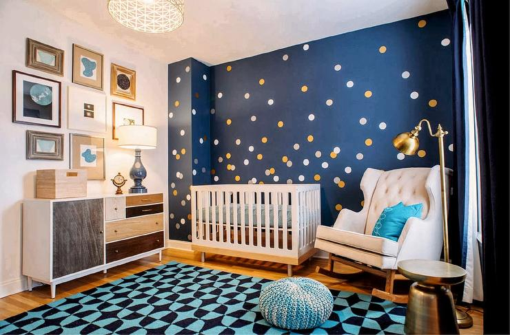 Sensational Gold And Blue Nursery With Silver And Gold Dot Wall Decals Download Free Architecture Designs Itiscsunscenecom