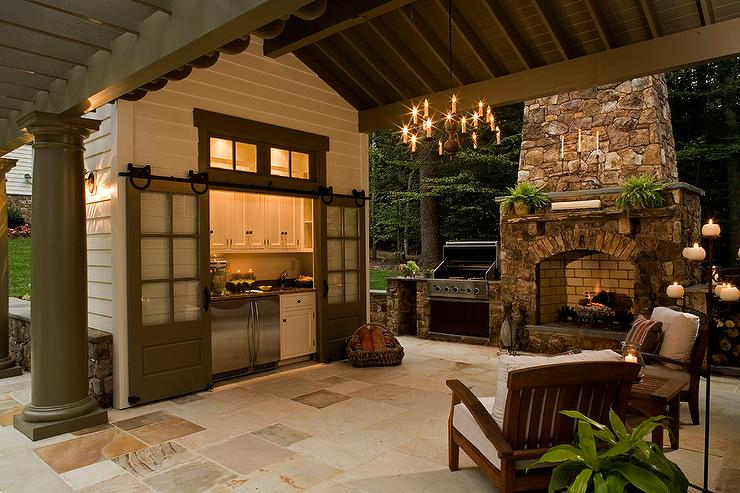 Outdoor Kitchen With Gray Barn Doors On Rails Transitional Deck Patio