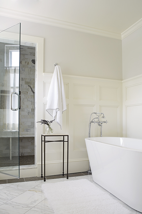 White And Gray Bathroom With Board Batten Trim