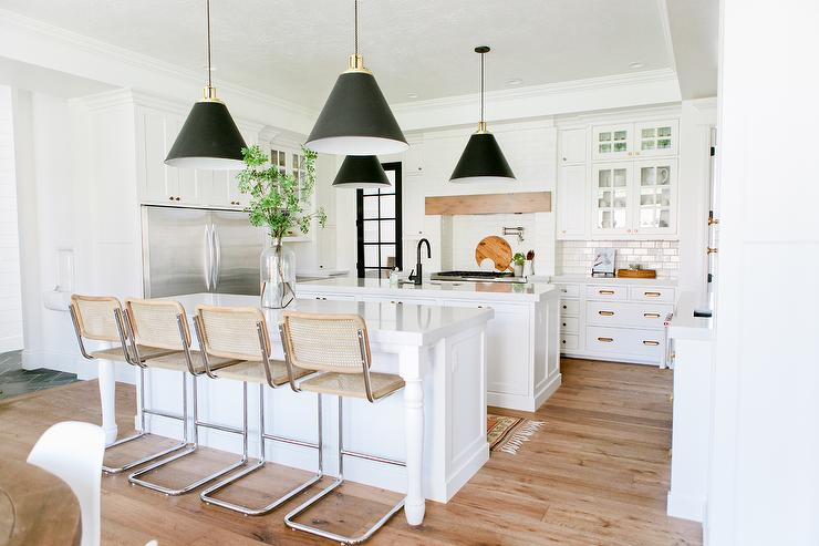 Two Kitchen Islands with Restoration Hardware Bauhaus Stools ...