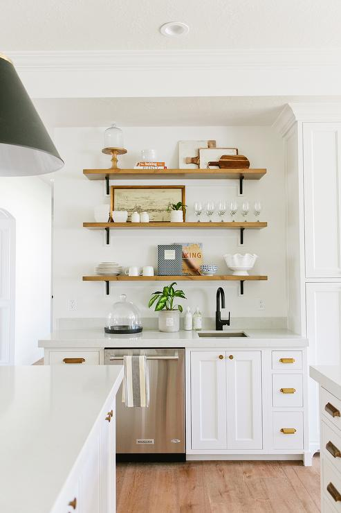 Three Wood Shelves Over Kitchen Prep Sink Transitional