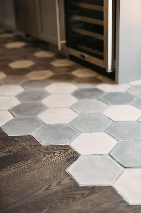 Gray Concrete Flooring : White and gray hex concrete floor tiles contemporary