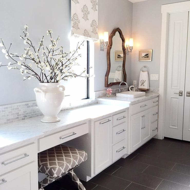 Exceptional Stunning Bathroom Features White Cabinets Painted White, Benjamin Moore  White Dove, Paired With White Marble Countertops And A Marble Brick Tile  Backsplash ...