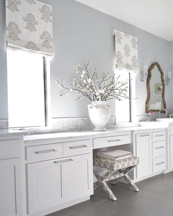 White And Silver Bathroom With Fleur De Lis Roman Shade
