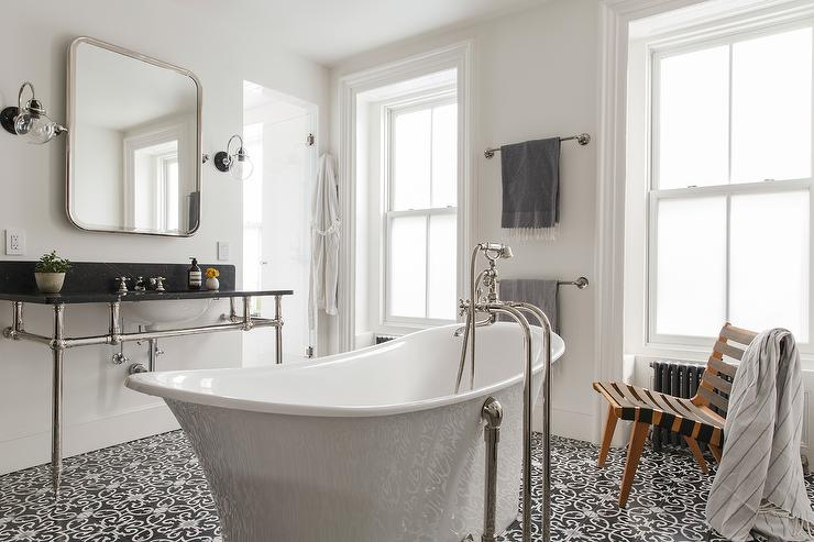 Black And White Master Bathroom With Center Of The Room