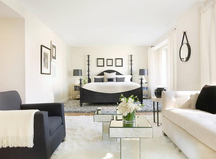 Bedroom with Black and White Living Space - Transitional ...
