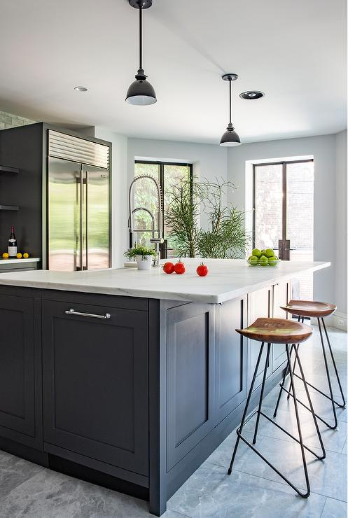 Dark gray kitchen island with honed white marble for White kitchen gray island