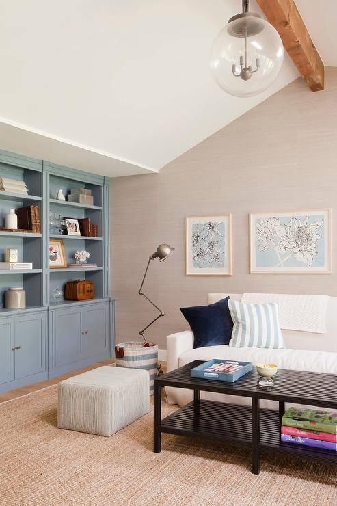 Gray And Blue Living Room With Built In Cabinets