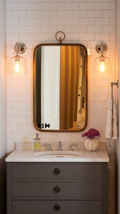 Gray Single Washstand With Curved Brass Mirror