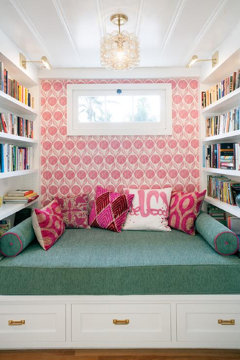 Corner Built In Bench Between Bookcases - Transitional - Den/library ...