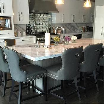 Calcutta Marble Top Island With Gray Linen Counter Stools
