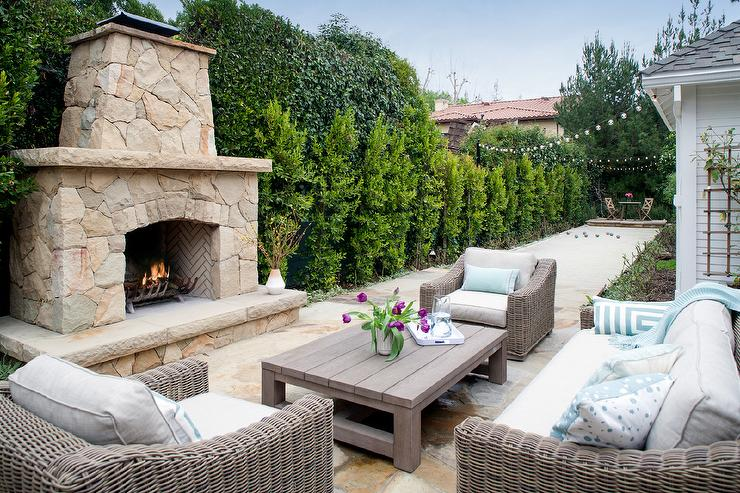 Taupe Outdoor Furniture with Black and White Pillows ...