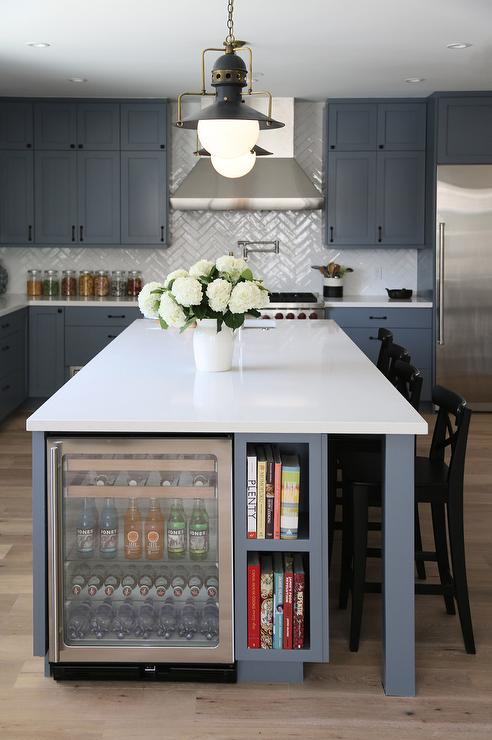 Steel Gray Kitchen Island With Glass Beverage Fridge Next
