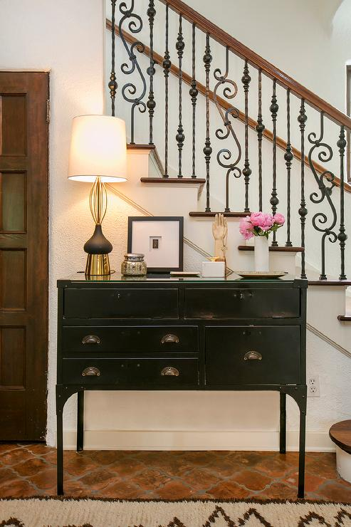 Mediterranean Foyer With Black Industrial Console Table