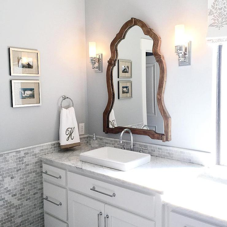 Perfect White And Silver Bathroom Design With Monogram Towels
