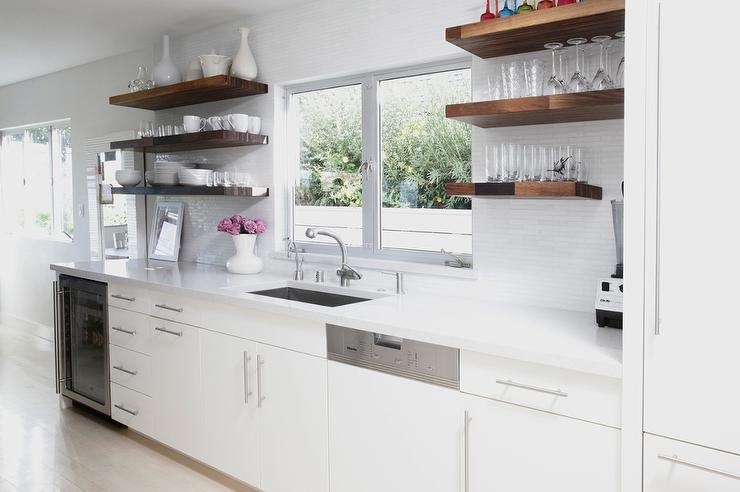 Genial White Kitchen With Wood Floating Shelves