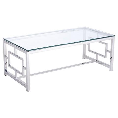 Rectangle Glass Silver Asian Inspired Coffee Table
