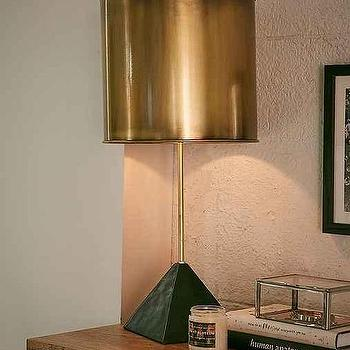 Faceted Black Stone Table Lamp