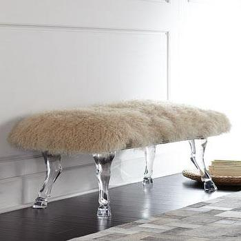 Gray Upholstered Curved Acrylic Legs Bench
