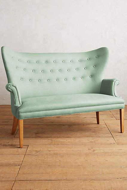 Phenomenal Linen Wingback Spearmint Bench Pabps2019 Chair Design Images Pabps2019Com