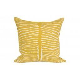 yellow zebra linen pillow