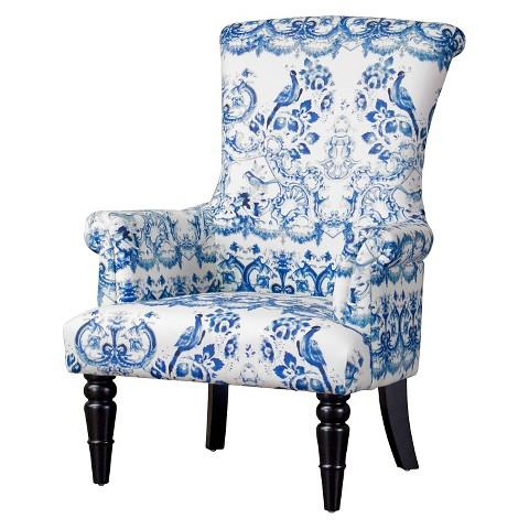 Nice Baxton Studio Blue And White Upholstered Chair