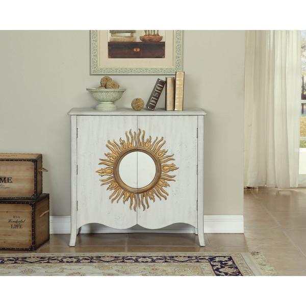 Somette White Sun Medallion 2 Door Cabinet
