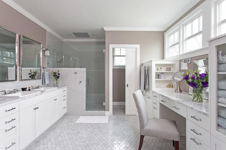 bathroom makeup vanity. Master Bathroom With Built In Makeup Vanity And Shelves T