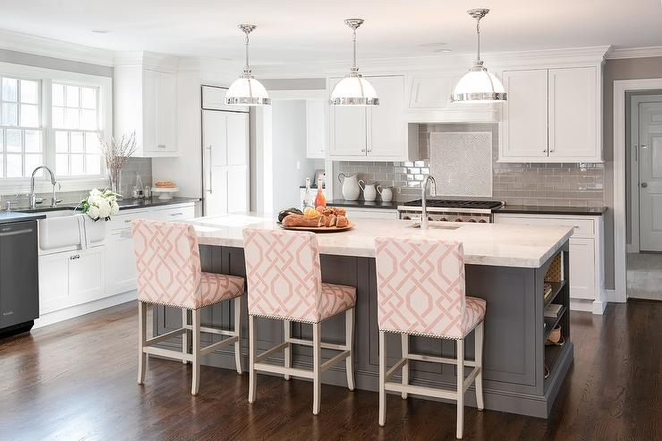 Incredible Gray Kitchen Island With Pink Trellis Counter Stools Uwap Interior Chair Design Uwaporg