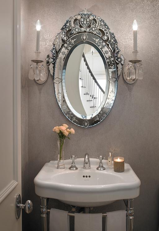 gray french powder room with oval venetian mirror french. Black Bedroom Furniture Sets. Home Design Ideas