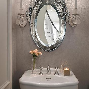Damask Mirrors Venetian powder room mirror design ideas gray french powder room with oval venetian mirror sisterspd