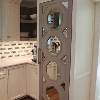 Gray Mirrored Octagon Refrigerator Door
