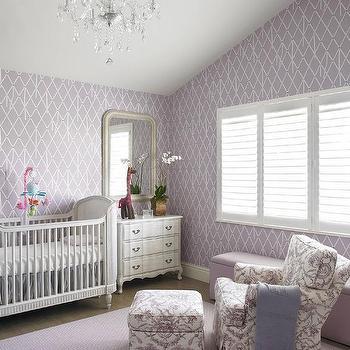 Purple Nursery With Belle Upholstered Crib