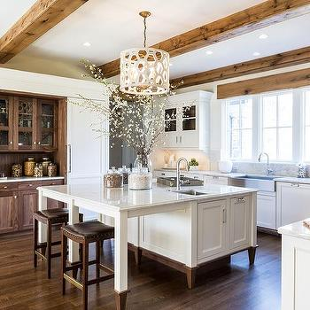 White Kitchen Cabinets With Stained Oak Trim Design Ideas
