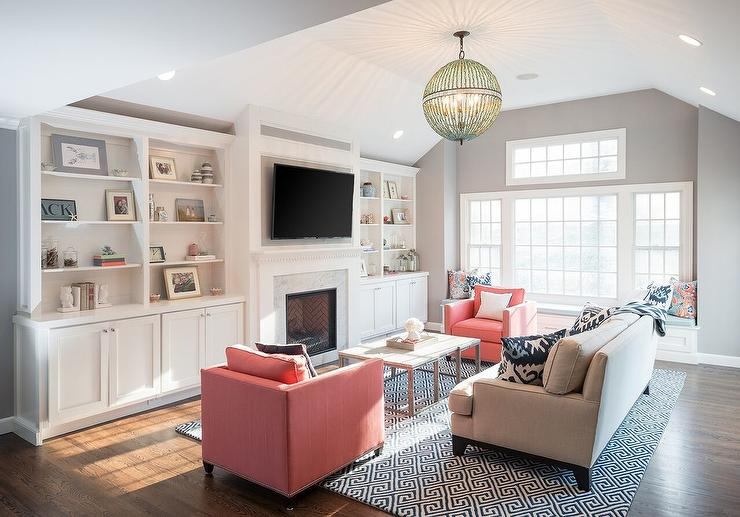 Living room built in tv cabinets flanked by built in for Living room ideas pink and grey